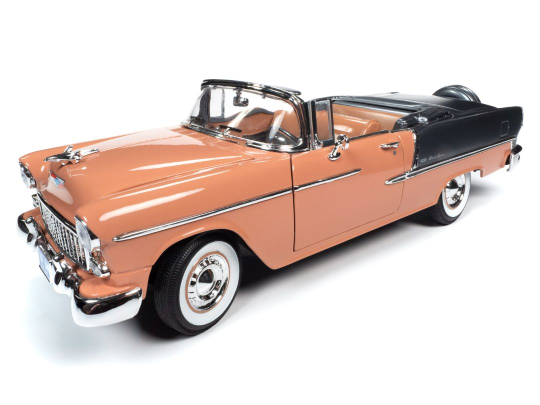 American Muscle 1/18 1955 Chevy Bel Air Convertible - Coral & Sh