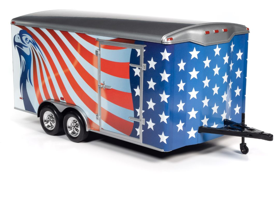 American Muscle 1/18 Enclosed Trailer - Red, White & Blue