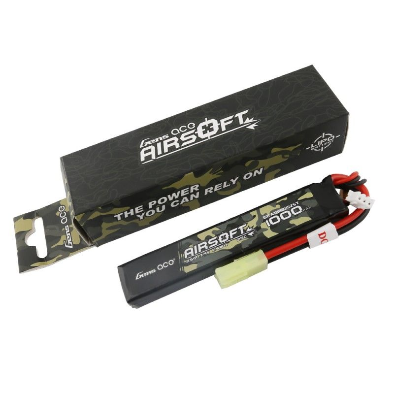 Gens Ace - 889 - Airsoft 1000mAh 2S1P 7.4V 25C LiPo Tamiya Plug 106x19x12mm