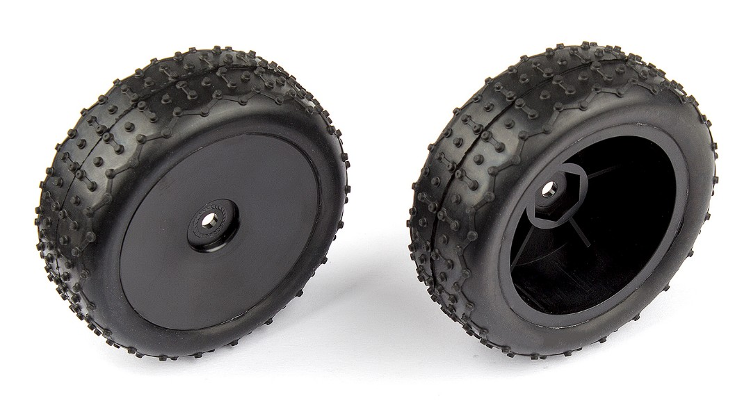 Team Associated Rear Wide Mini Pin Tires, mounted (Reflex 14B/14T)