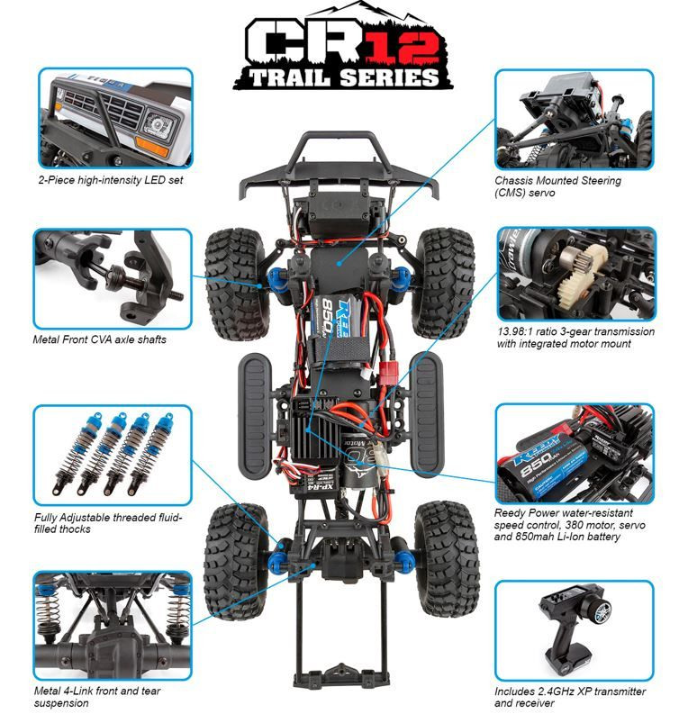 Team Associated CR12 Tioga Trail Truck RTR, white and blue - Click Image to Close