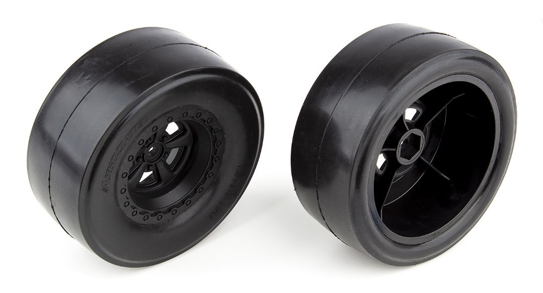 Team Associated DR10 Rear Wheels and Drag Slick Tires, mounted