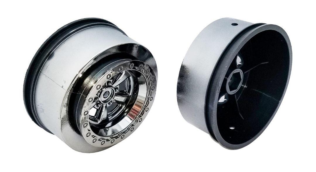 Team Associated Drag Rear Wheels, 2.2 in / 3.0 in, 12 mm hex, black chrome