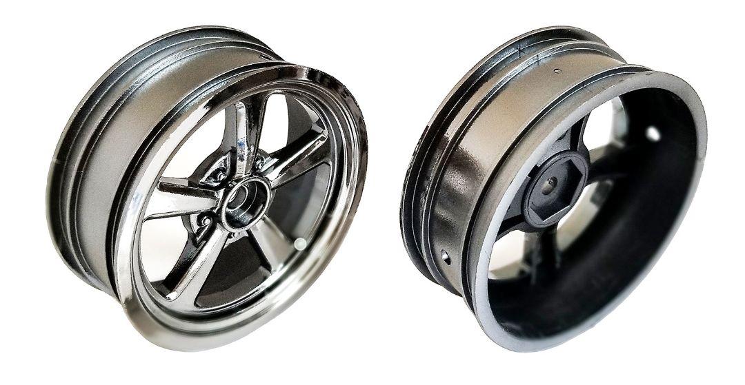 Team Associated Drag Front Wheels, 2.2 in, 12 mm hex, black chrome