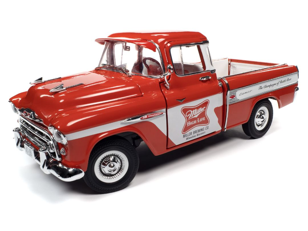 Auto World 1/18 1957 Chevy Cameo Pickup Miller High Life Red/Wht