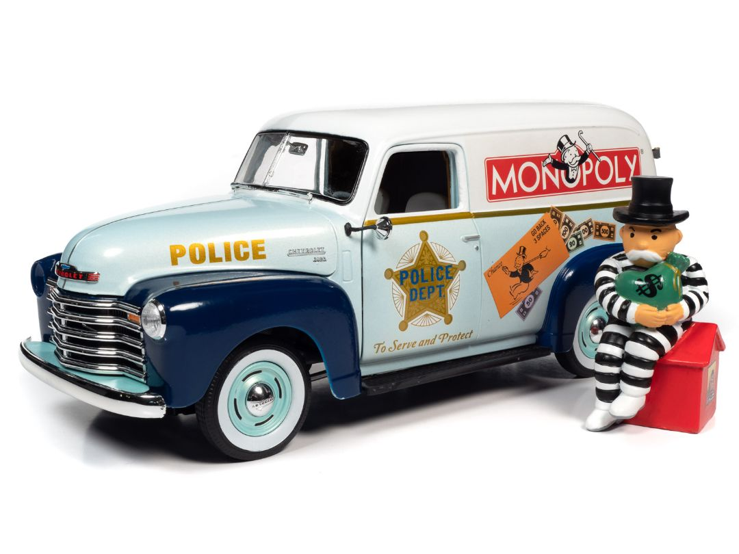 Auto World 1/18 Monopoly 1948 Chevrolet Panel Delivery w/ figure