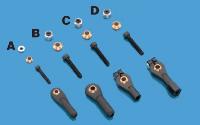 Du-Bro 2-56 x 1/2 Swivel Ball Links for 4-40 rods With Hardware -Black (2/pkg)