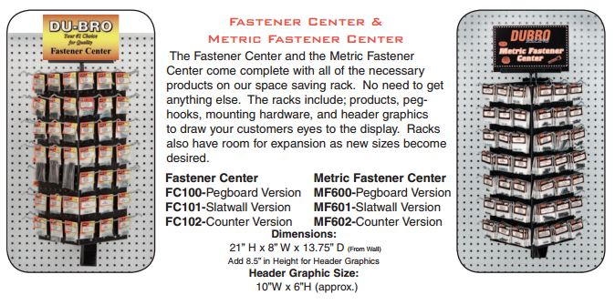 Du-Bro Fastener Center w/Merchandise (Counter)