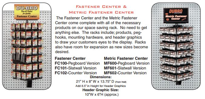 Du-Bro Metric Fastener Center w/o Merchandise (Counter)