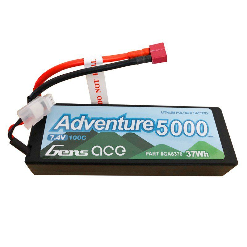 Gens Ace - 637 - Adventure 5000mAh 7.4V 100C 2S1P Hard Case Lipo Battery Pack with Deans Plug 138x47x25mm