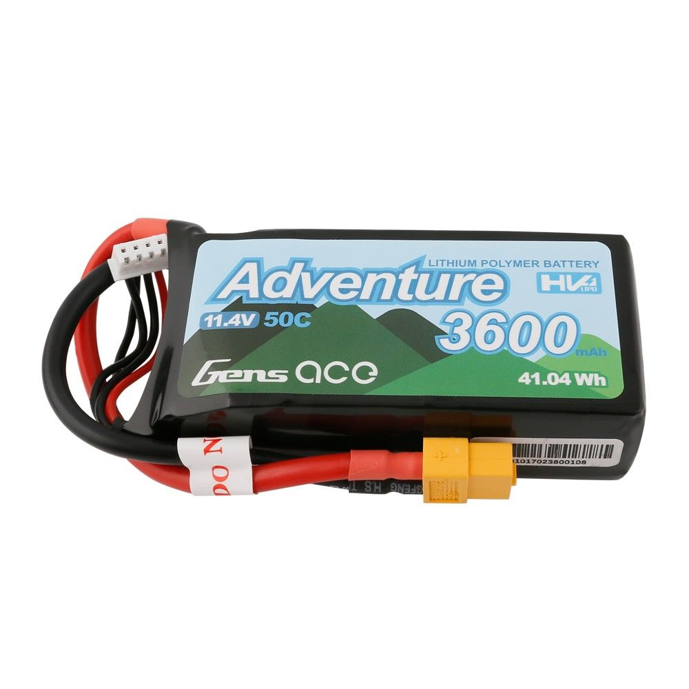 Gens Ace Adventure 3600mAh 3S 11.4V 50C Lipo Battery Pack