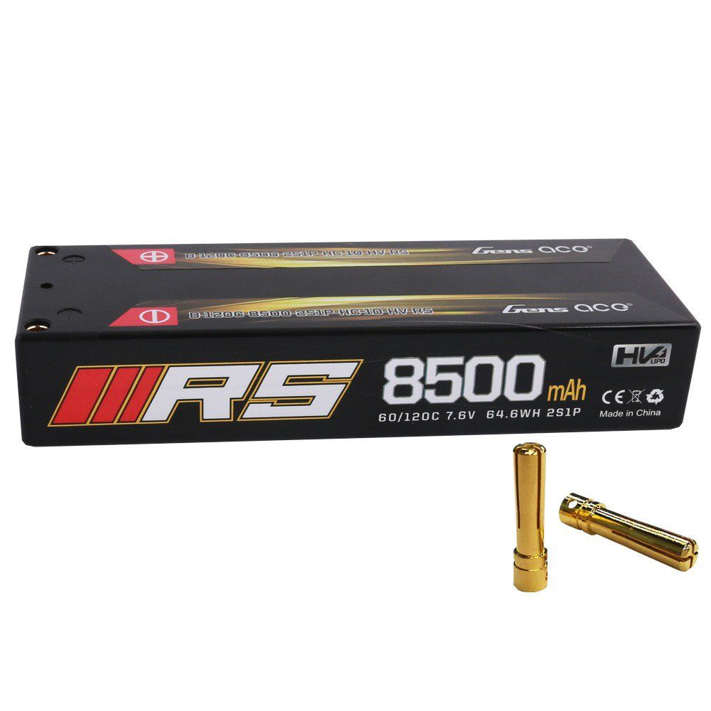 Gens Ace - 600 - 8500mAh 2S1P Hard Case 120C 7.6V Lipo Battery Pack with 4.0mm bullet 137x47x25mm