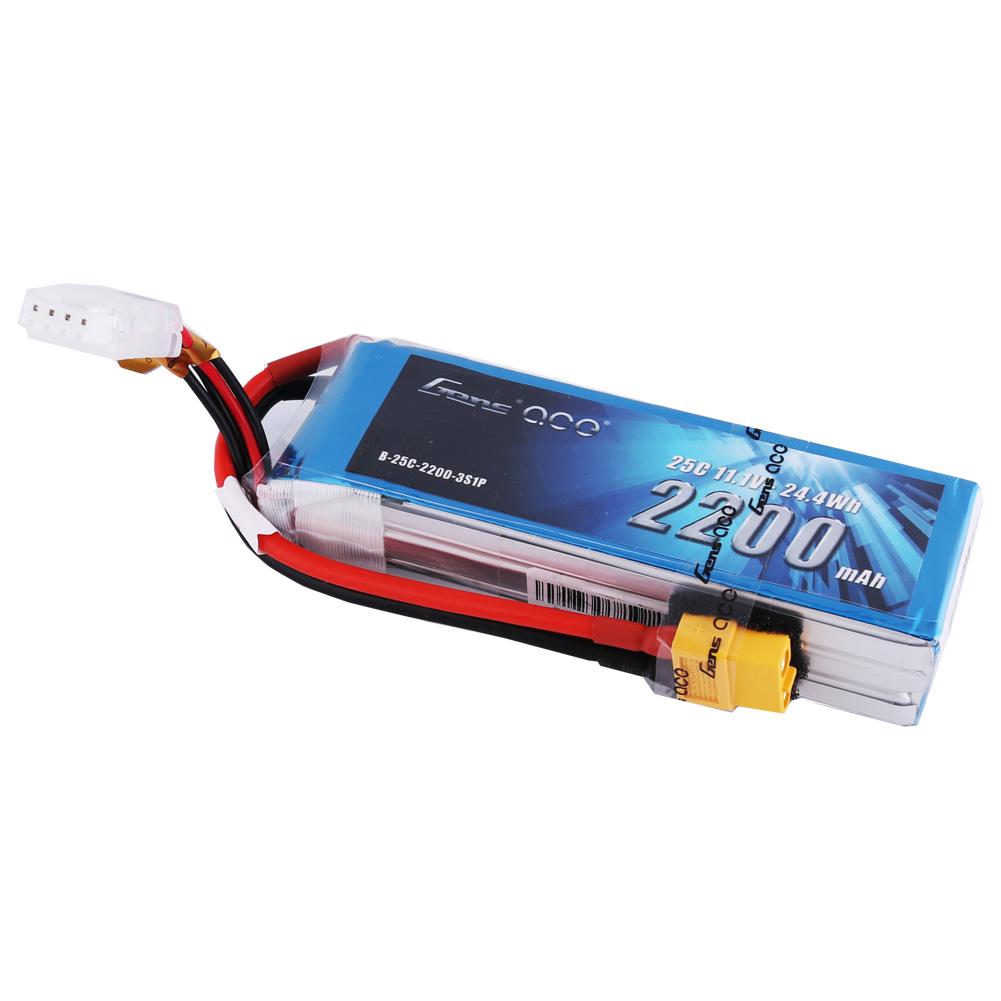 Gens Ace - 278 - 2200mAh 3S 11.1V 25C LiPo XT60 Plug Soft Case 106x33.5x23.5mm