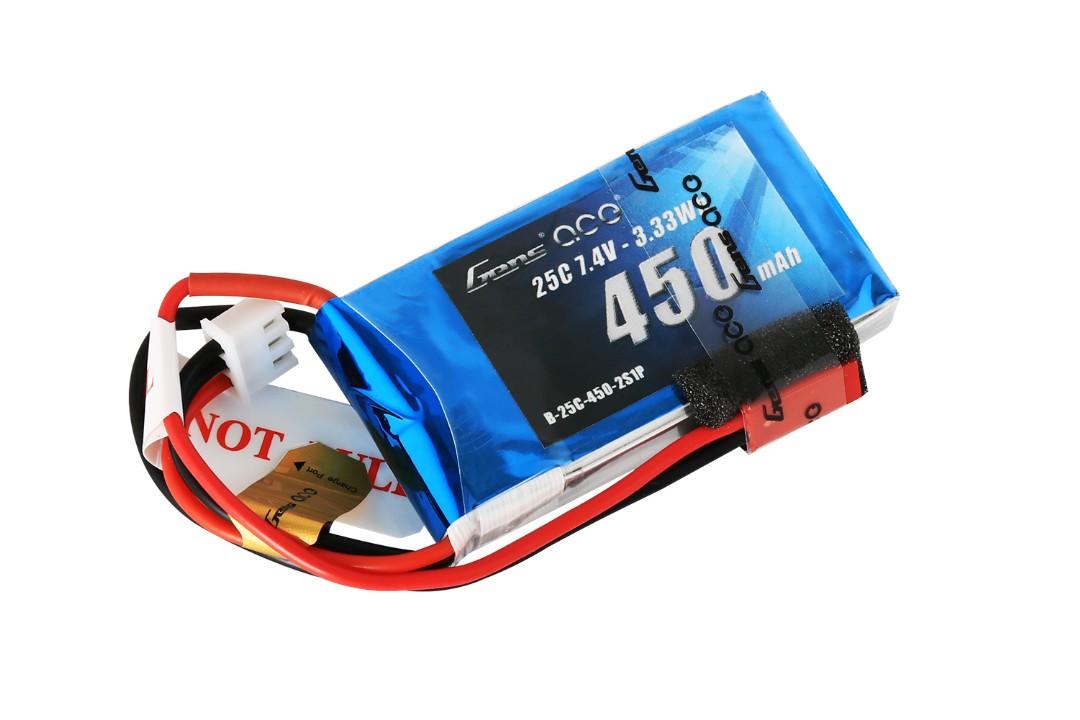 Gens Ace - 004 - 450mAh 2S1P 7.4V 25C LiPo JST Plug Soft Case 56x31x11mm