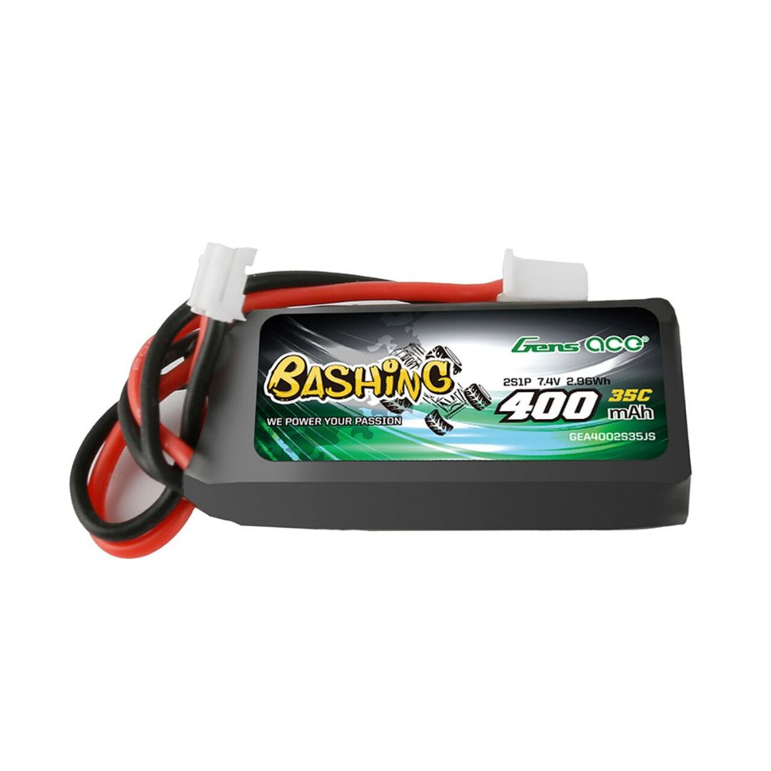 Gens Ace - 260 - 400mAh 2S1P 7.4V 35C LiPo JST-PHR-2P Plug Soft Case for SCX24 42x19x12mm