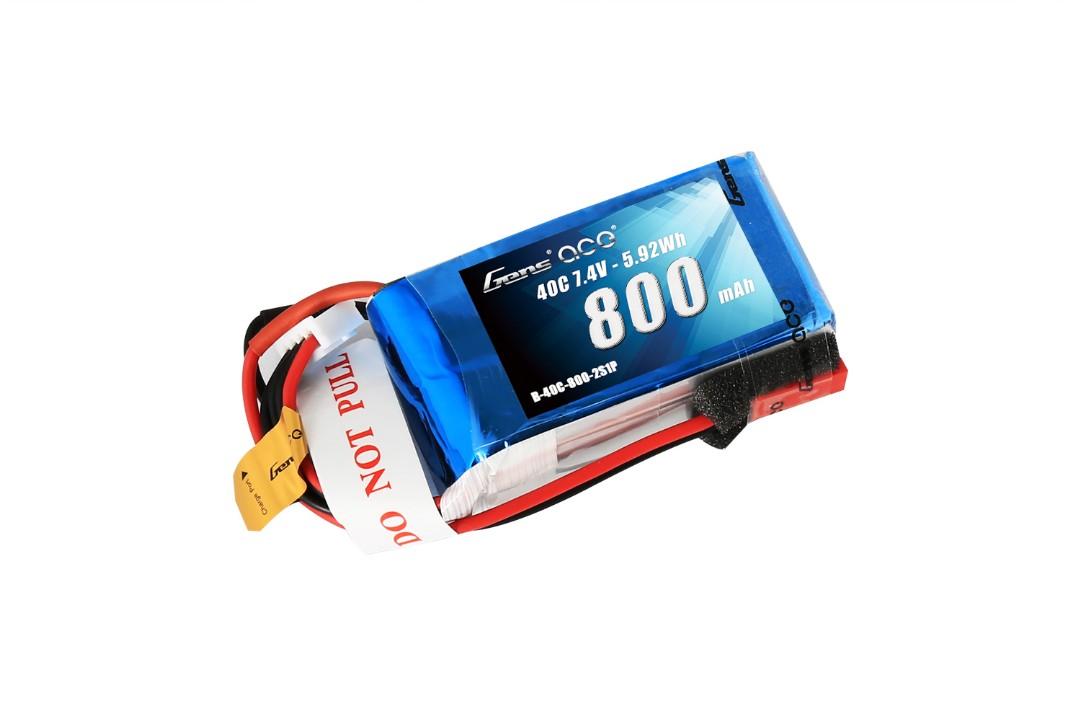 Gens Ace - 033 - 800mAh 2S1P 7.4V 40C LiPo JST Plug Soft Case 52x30x15mm