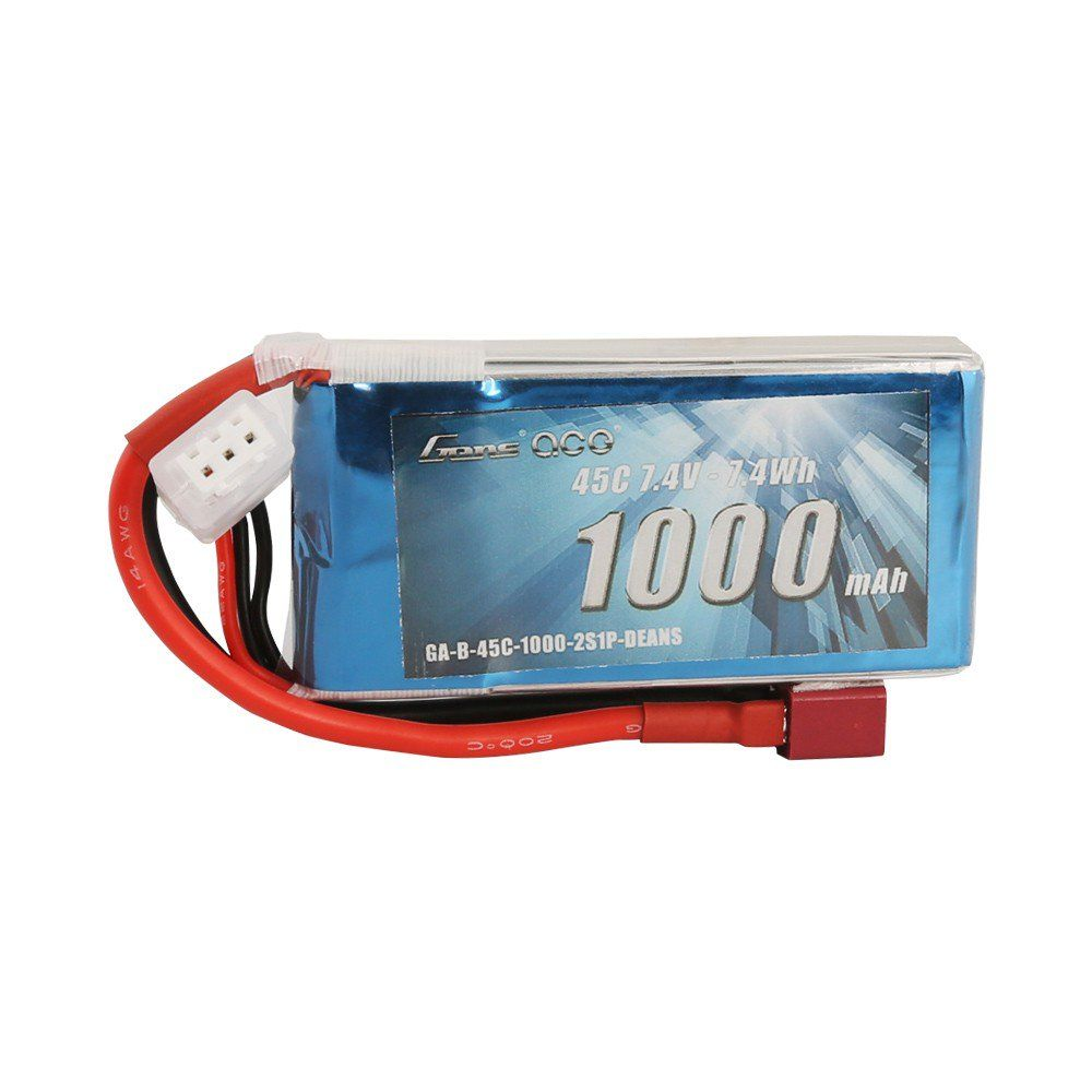 Gens Ace - 601 - 1000mAh 2S 45C Lipo Battery Pack with Deans plug 72x36x13mm