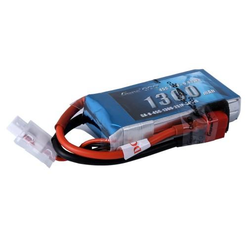 Gens Ace - 390 - 1300mAh 2S1P 7.4V 45C LiPo Deans Plug Soft Case 72x35x17mm