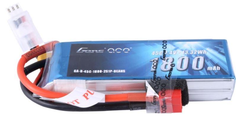 Gens Ace - 392 - 1800mAh 2S1P 7.4V 45C LiPo Deans Plug Soft Case 90x30x17mm