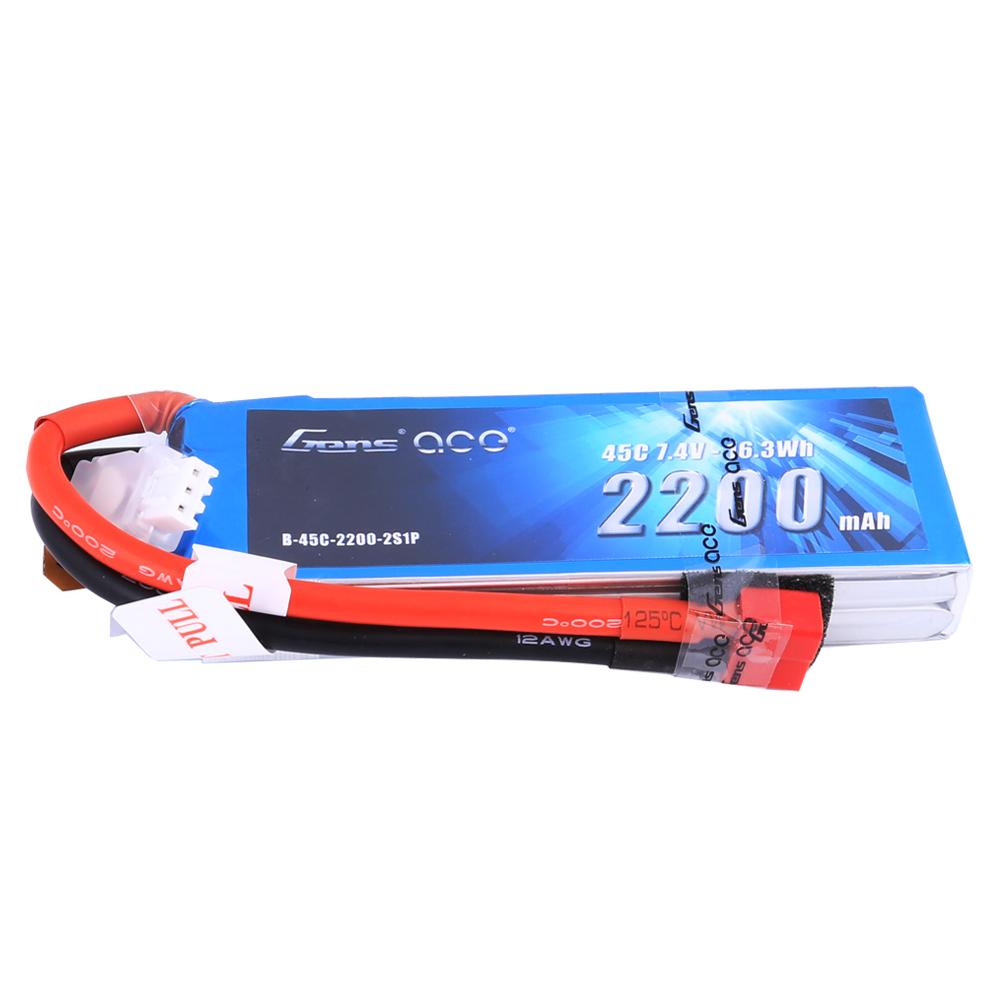 Gens Ace - 203 - 2200mAh 2S1P 7.4V 45C LiPo Deans Plug Soft Case 106x34x19mm