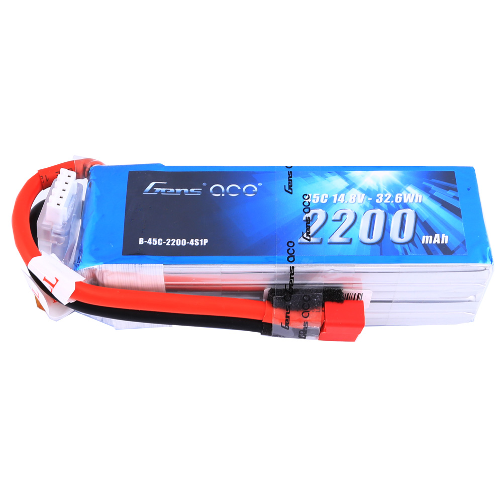 Gens Ace - 204 - 2200mAh 4S1P 14.8V 45C LiPo Deans Plug Soft Case 106x34x33mm