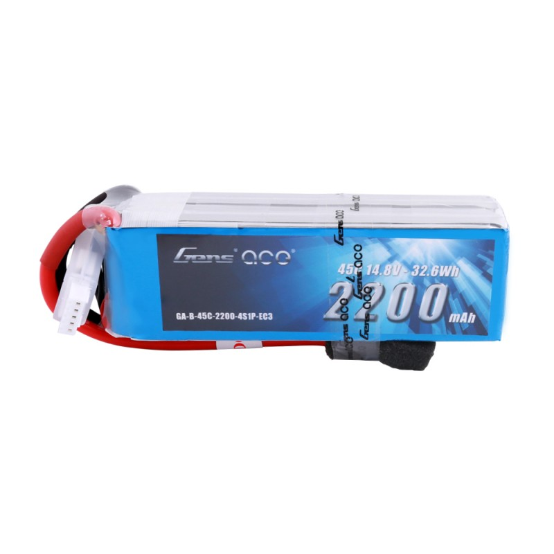 Gens Ace - 502 - 2200mAh 4S1P 14.8V 45C LiPo EC3 Plug Soft Case 106x34x30mm