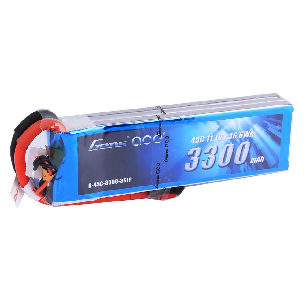 Gens Ace - 205 - 3300mAh 3S1P 11.1V 45C LiPo Deans Plug Soft Case 136x42x23mm
