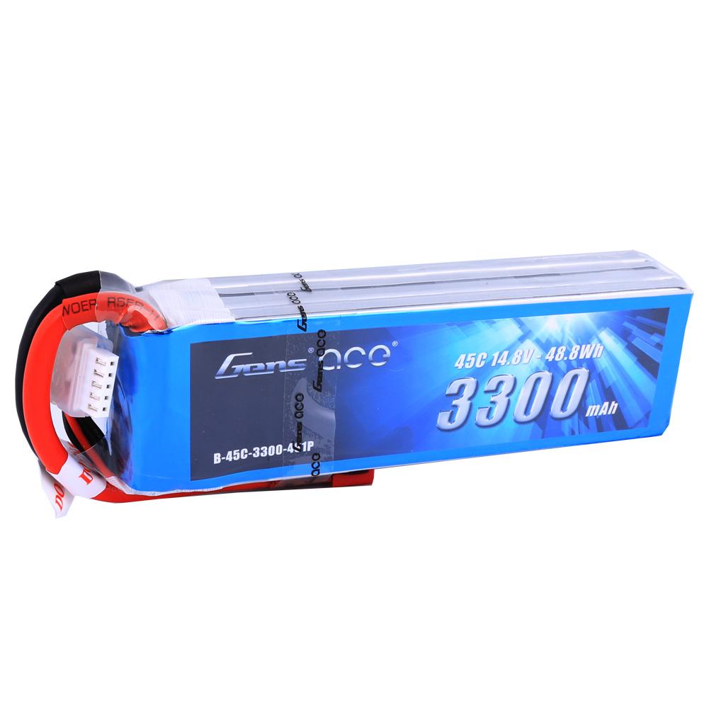 Gens Ace - 206 - 3300mAh 4S1P 14.8V 45C LiPo Deans Plug Soft Case 136x42x31mm