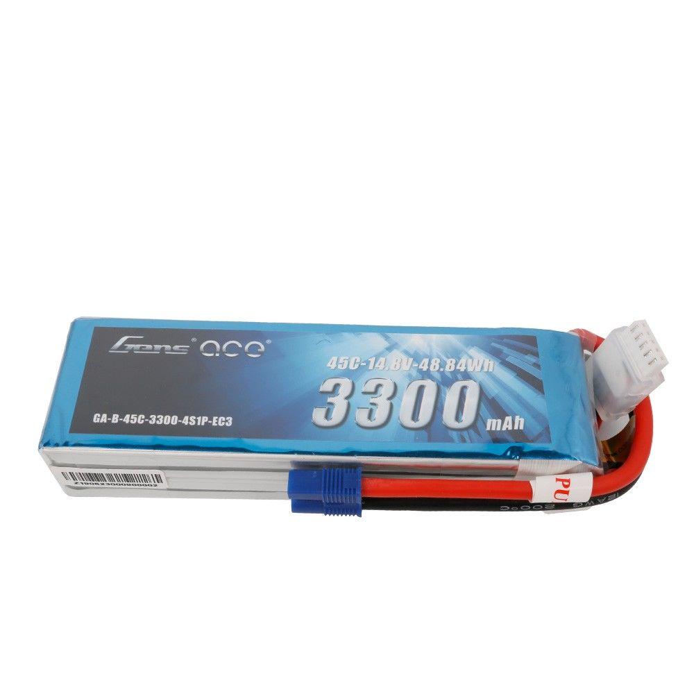 Gens Ace - 728 - 3300mAh 4S1P 14.8V 45C LiPo EC3 Plug Soft Case 139x44x28mm