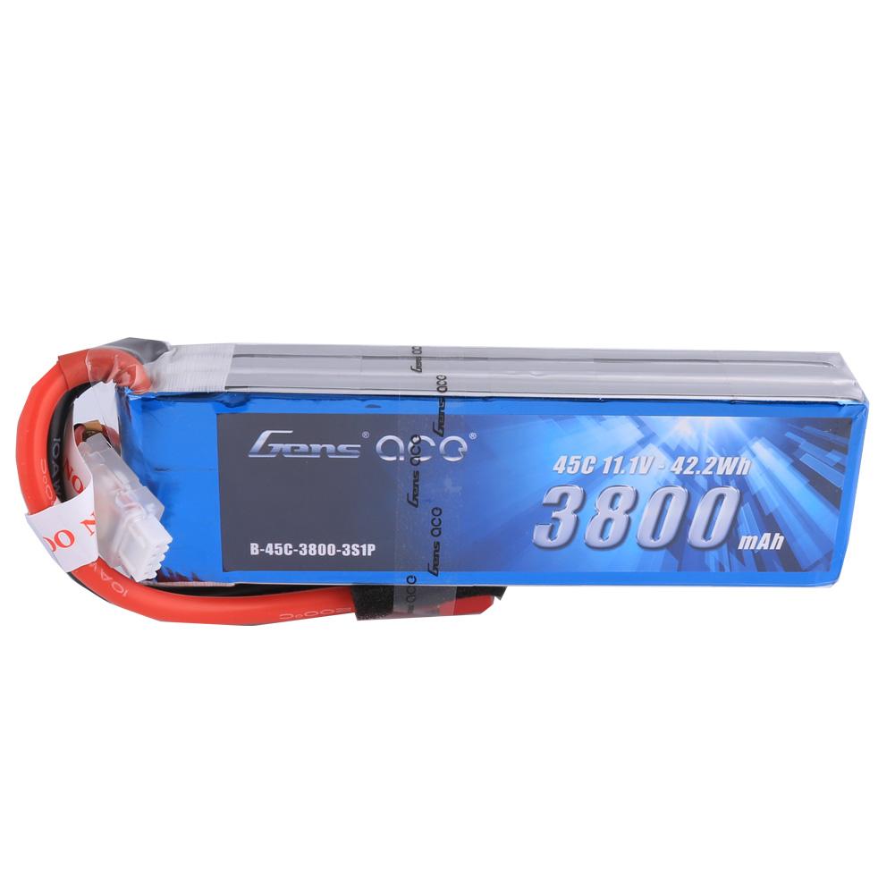Gens Ace - 207 - 3800mAh 3S1P 11.1V 45C LiPo Deans Plug Soft Case 136x42x28mm