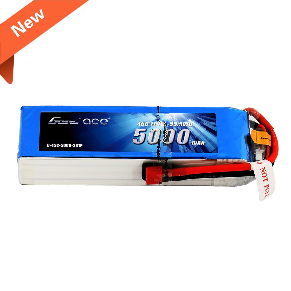 Gens Ace - 125 - 5000mAh 3S1P 11.1V 45C LiPo Deans Plug Soft Case 154x46x23mm