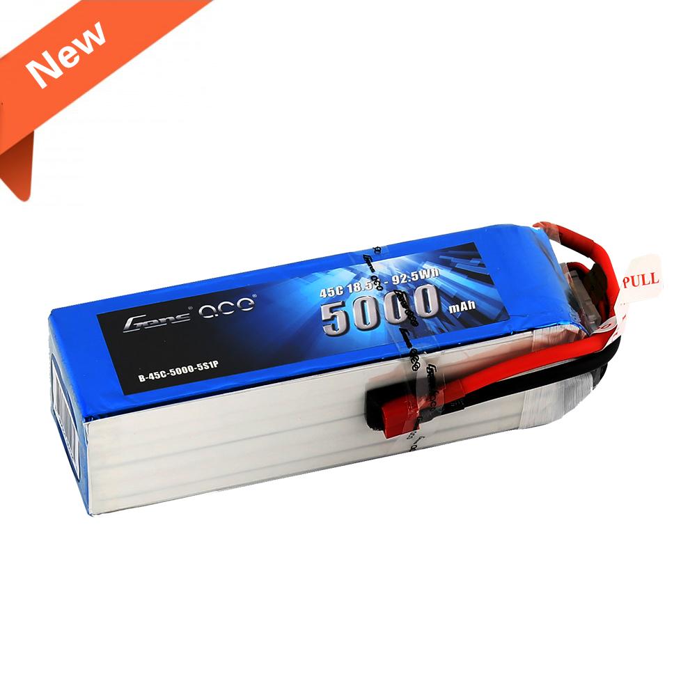 Gens Ace - 127 - 5000mAh 5S1P 18.5V 45C LiPo Deans Plug Soft Case 154x46x38mm