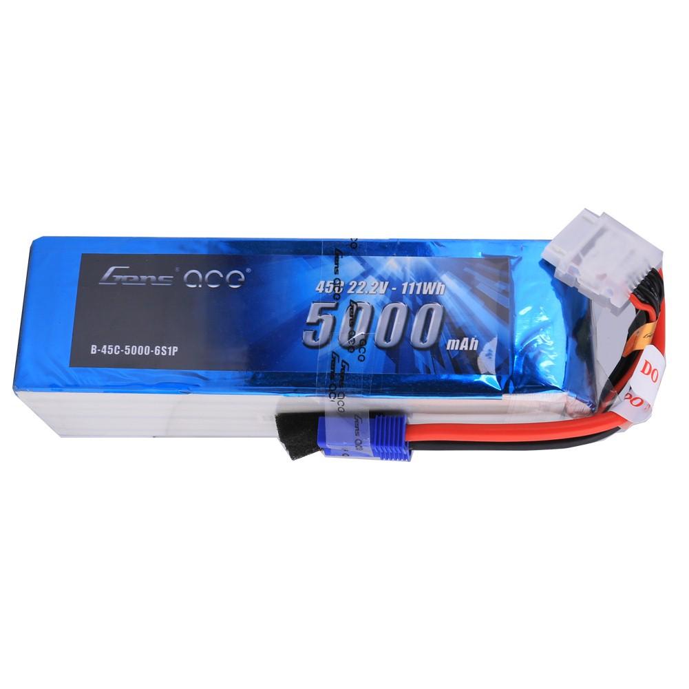 Gens Ace - 128 - 5000mAh 6S1P 22.2V 45C LiPo EC5 Plug Soft Case 154x46x44mm