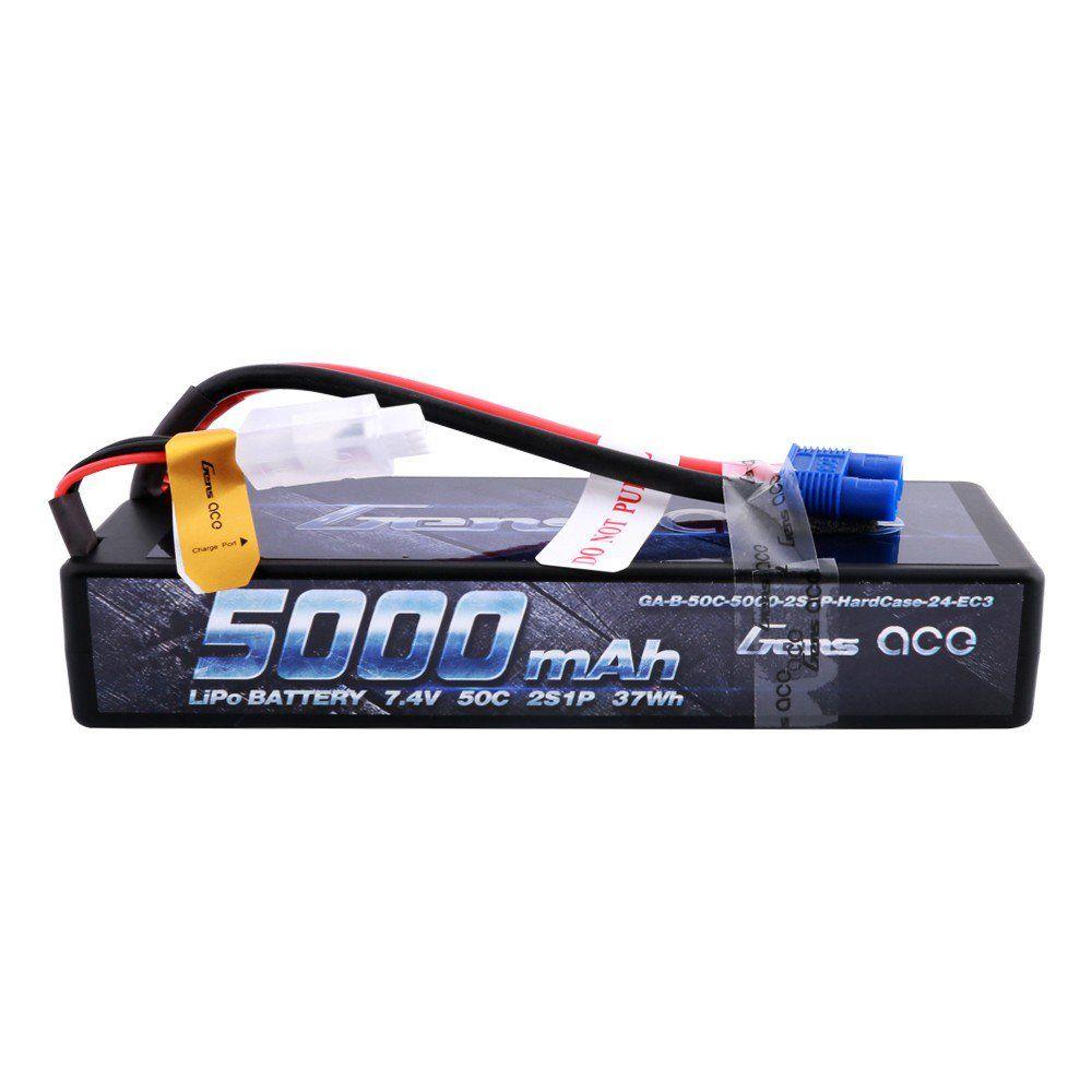 Gens Ace - 504 - 5000mAh 7.4V 50C 2S1P Hard Case Lipo Battery Pack with EC3 Plug 138.5x47x25mm