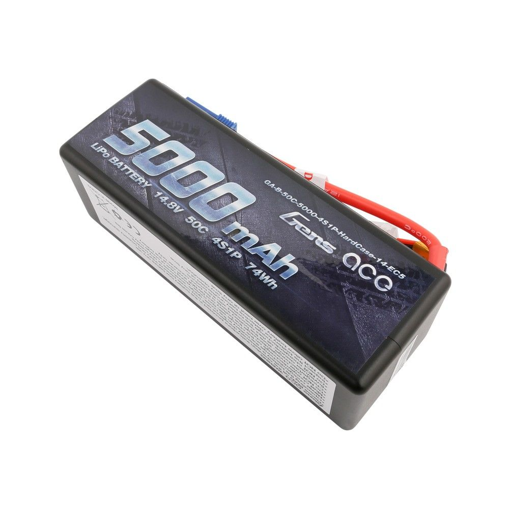 Gens Ace - 722 - 5000mAh 14.8V 50C 4S1P Hard Case Lipo Battery Pack with EC5 138x46x50mm