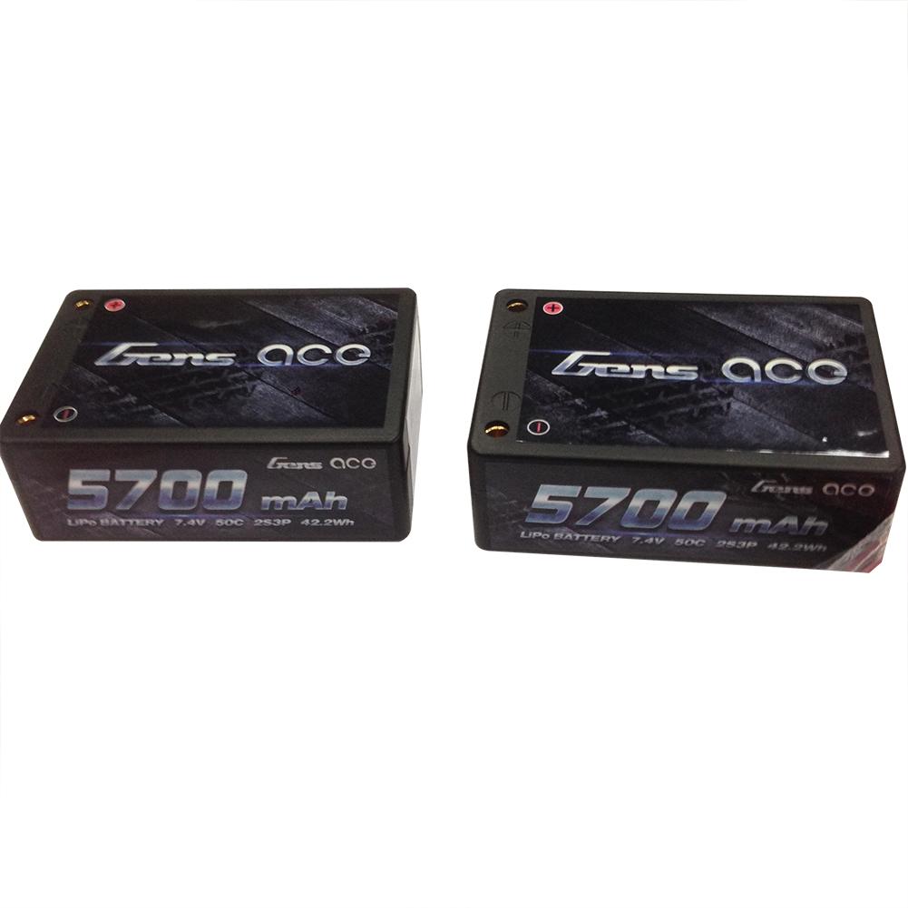Gens Ace - 048 - 5700mAh 2S3P 7.4V 50C LiPo 4.0mm Bullets Hard Case Saddle Pack 70x47x25mm