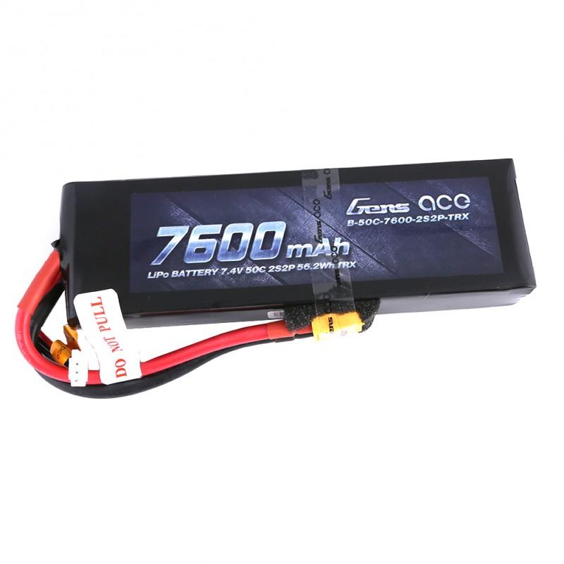 Gens Ace - 194 - 7600mAh 2S2P 7.4v 50C LiPo XT60 Plug Soft Case 153x47x29mm