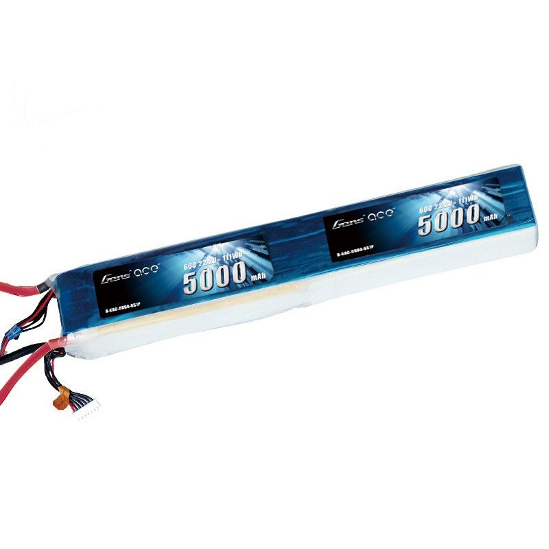 Gens Ace - 236 - 5000mAh 12S1P 44.4V 60C LiPo EC5 Plug Soft Case 324x52x47mm