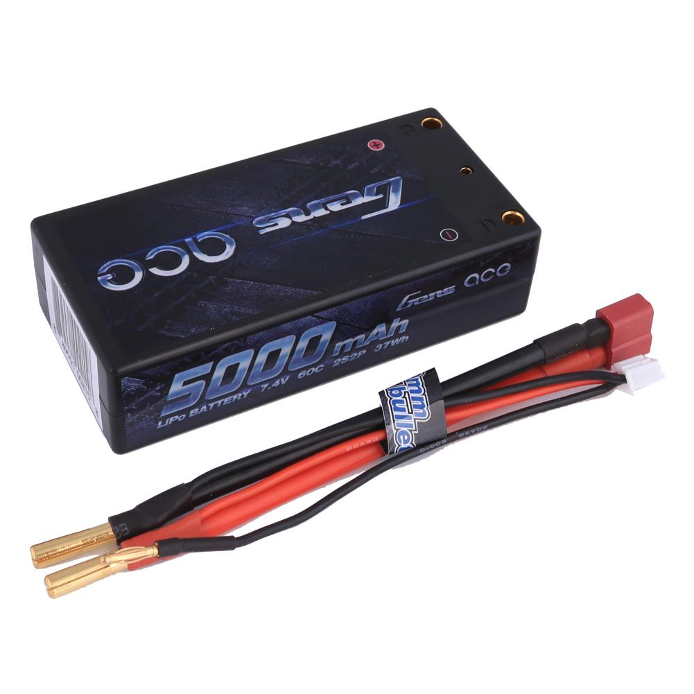 Gens Ace - 215 - 5000mAh 2S2P 7.4V 60C LiPo Deans Plug Hard Case Shorty 95x46x25mm