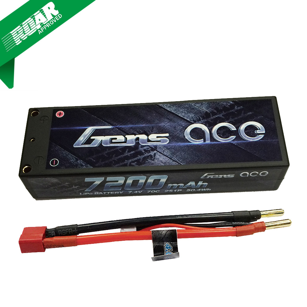 Gens Ace - 052 - 7200mAh 2S1P 7.4V 70C LiPo 4.0mm Bullets Hard Case 138x47x25mm