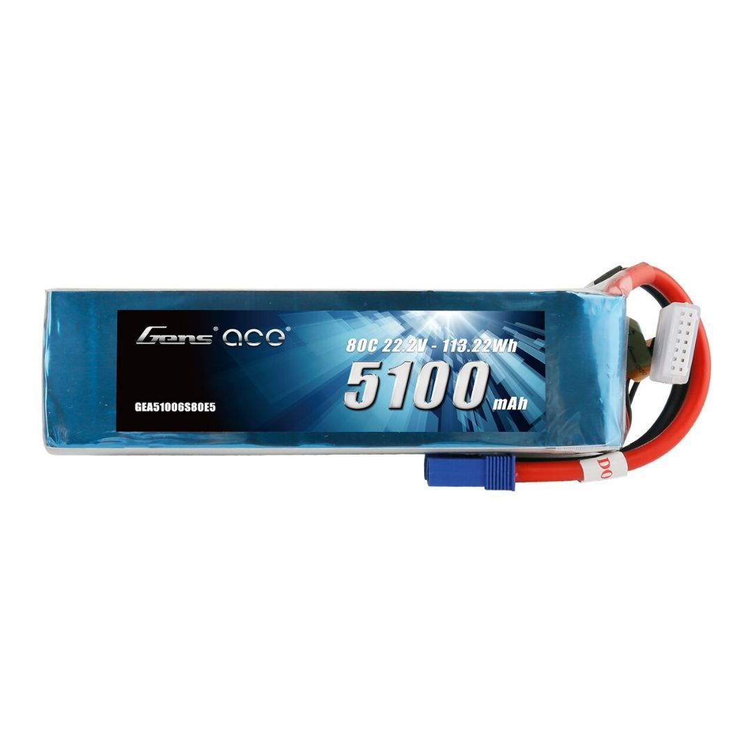 Gens Ace - 987 - 5100mAh 6S1P 22.2V 80C LiPo EC5 Plug Soft Case 149x50x52mm
