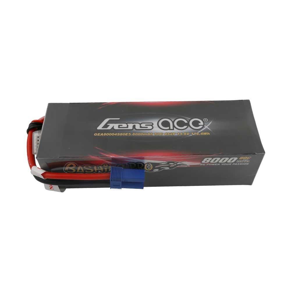 Gens Ace - 902 - 8000mAh 4S2P 14.8v 80C LiPo EC5 Plug Hard Case 160x53x42mm