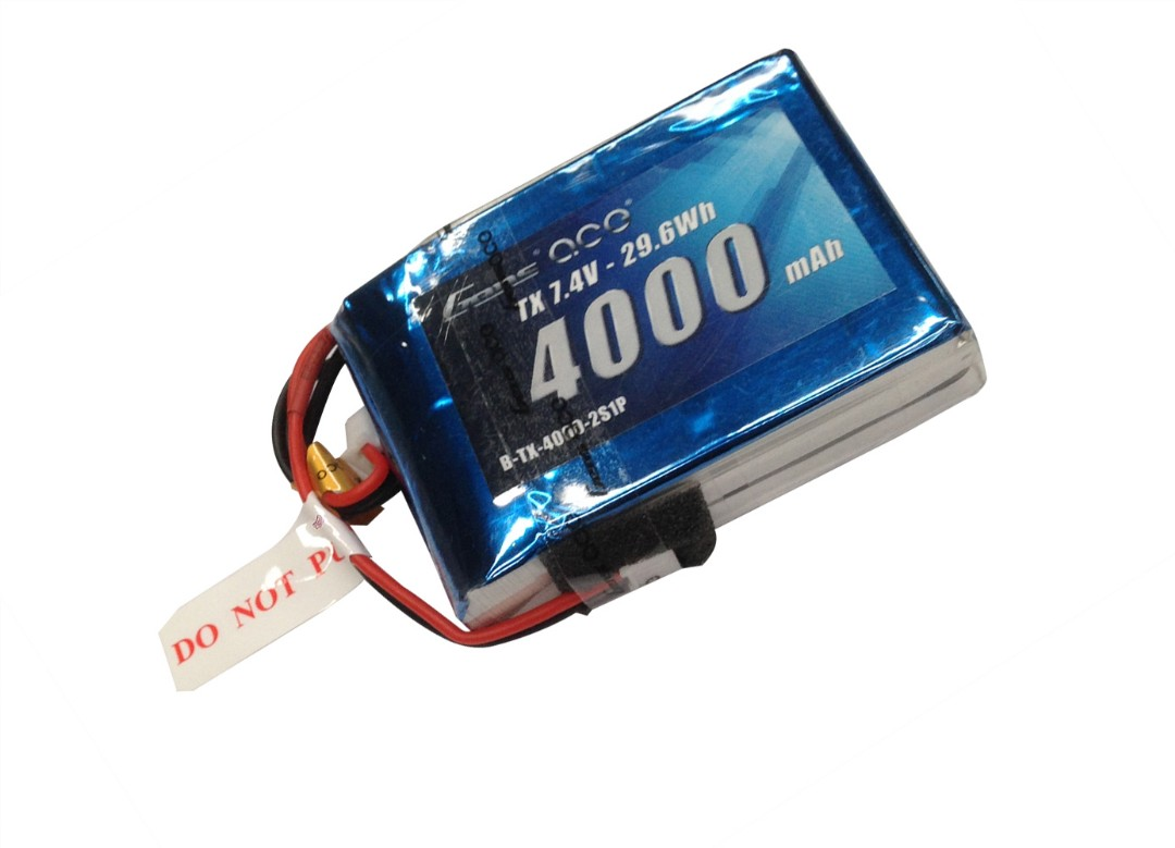 Gens Ace - 050 - 4000mAh 2S1P 7.4V Transmitter LiPo JST Plug Soft Case 72x52x20mm