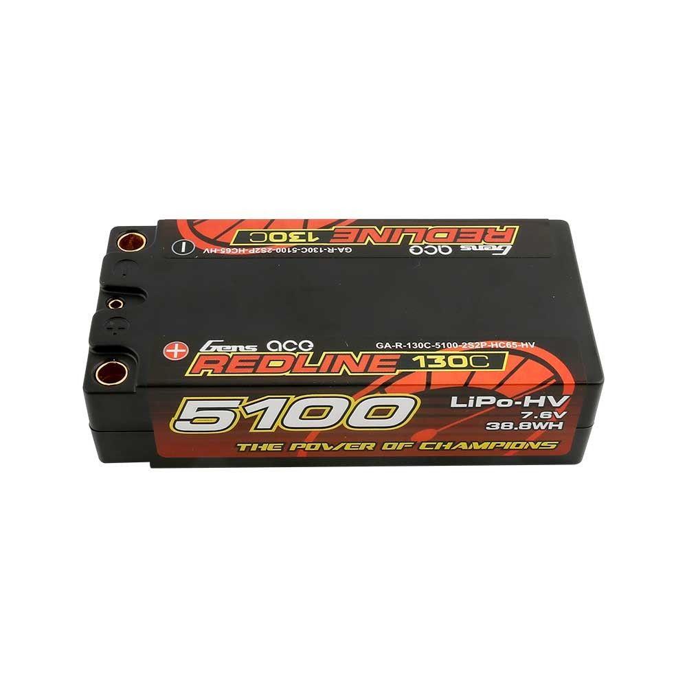 Gens Ace - 872 - 5100mAh 7.6V 130C 2S2P Hard Case HV Shorty Lipo Battery Pack with 5mm Bullet 96x46x25mm