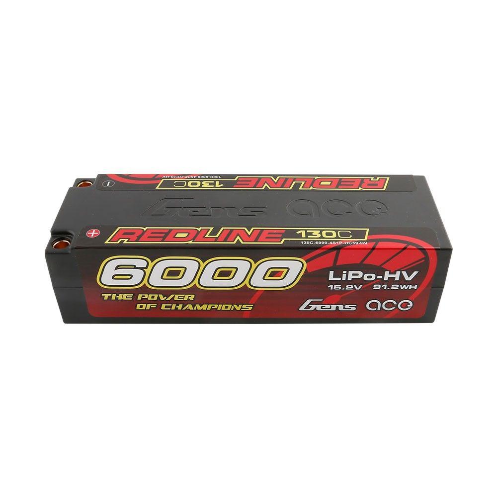 Gens Ace - 867 - Redline Series 6000mAh 15.2V 130C 4S1P Hard Case HV Lipo Battery Pack with 5mm Bullet 139x47x37mm