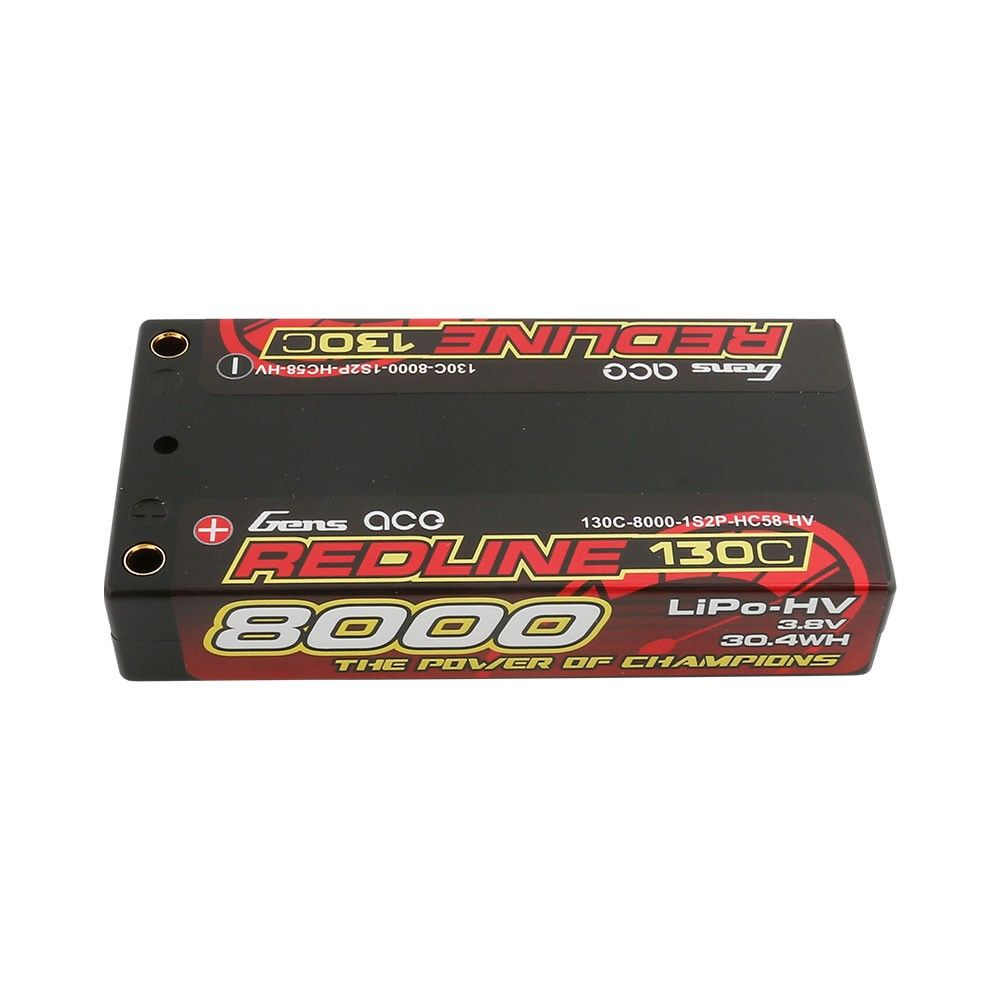 Gens Ace - 874 - Redline Series 8000mAh 3.8V 130C 1S2P Hard Case HV Lipo Battery Pack with 4mm Bullet 93x47x18mm