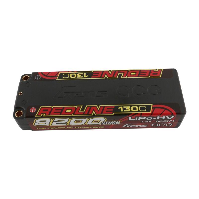Gens Ace - 838 - Redline Series 8200mAh 7.6V 130C 2S1P Hard Case HV Lipo Battery Pack with 5mm Bullet 138x46x25mm