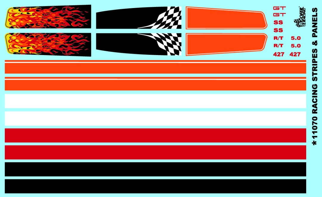 Gofer Racing Racing Stripes and Panels Decals 1/24