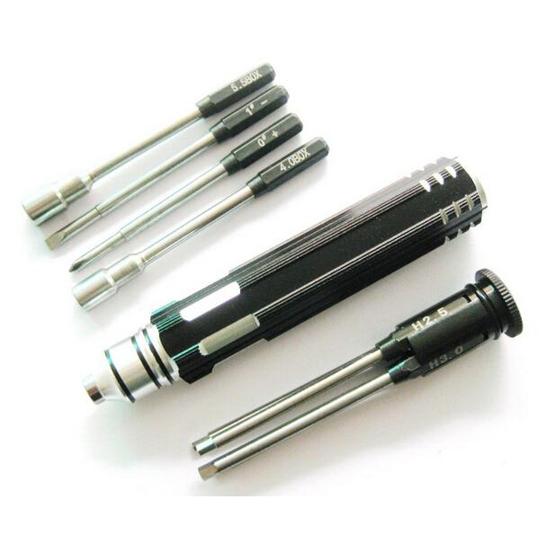 8-in-1 Screwdriver tool - Hex: 1.5mm, 2.0mm, 2.5mm, 3.0mm, Phillips, flat head, Socket: 4.0mm, 5.5mm
