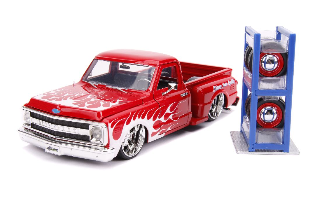 "Jada 1/24 ""Just Trucks"" 1969 Chevy C10 w/ extra wheels - Red"